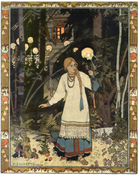 Vasilisa the Beautiful at the Hut of Baba Yaga, by Ivan Bilibin