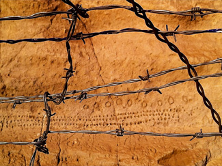 Ancient rock writings behind a barbed wire fence at Koomookumpts' Bed, sacred center of the Modoc World. Photo Thomas Doty.