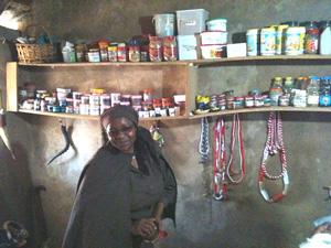 Inyanga in her ndumba (sacred healing hut) Marapyane, Mpumalanga, 2010
