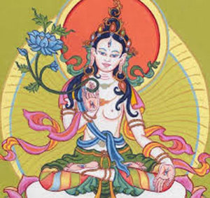 Tibetan White Tara, the mother of liberation, hears and responds to suffering. She offers long life, inner calm and healing.