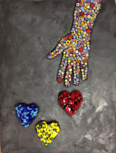 Hand To Heart, mosaic by Gail Burgan Rosen ©